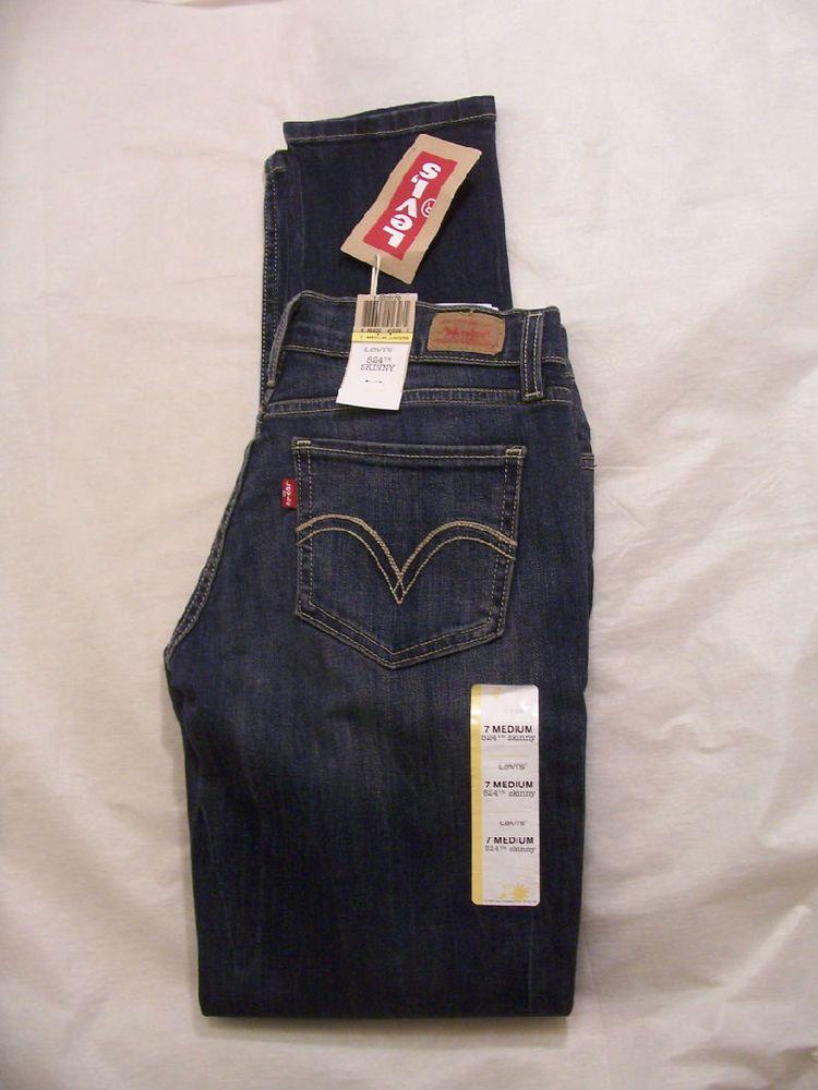 Levi's Jean Skinny Leg 524 Ultra low Rise Dark Medium Distressed Denim 115070170 #Levis #SkinnyLeg
