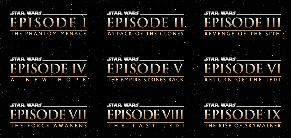 All 9 Skywalker Films With Logos In The Style Of The Prequels Starwars Star Wars Episode Iv Skywalker Star Wars