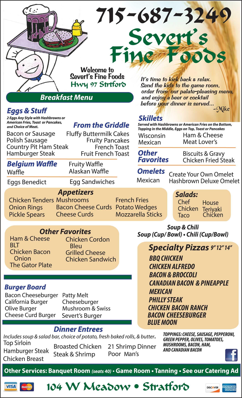 Severts Fine Foods Restaurant Menu Marshfield Wi 2015 16