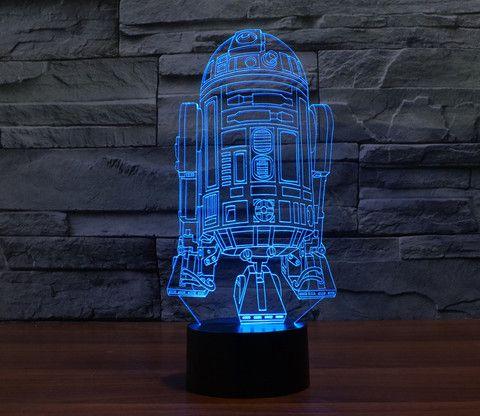 Star Wars LED lámpara 7 colores 3d ilusión hologram película episodio Vader r2d2 bb8