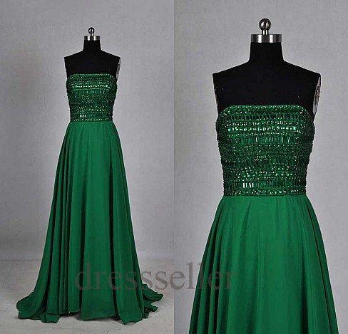 be87af09b937f Custom Dark Green Sequins Long Prom Dresses Fashion by Tinadress .
