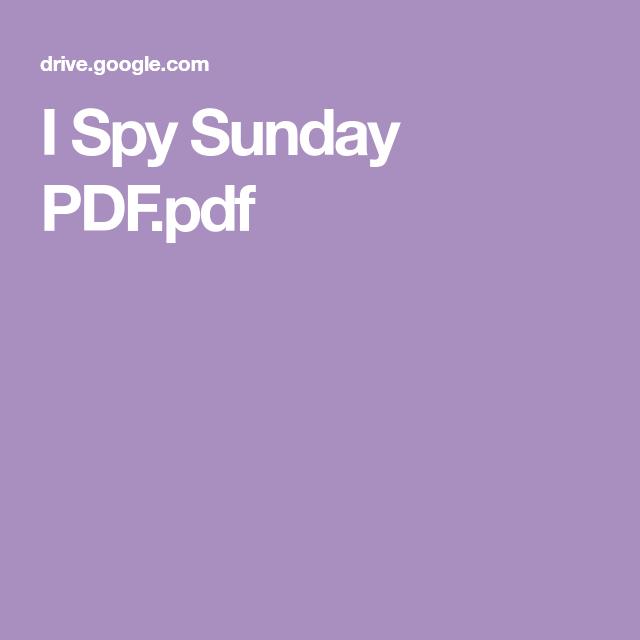 I Spy Sunday PDF.pdf | I spy, Spy, Sunday