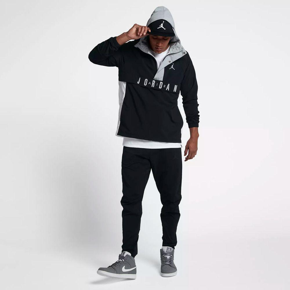 e1e55b644566 Nike Air Jordan WINGS ANORAK Wind Jacket Pullover Black Gray 942729-010 Mens   Nike  Windbreaker