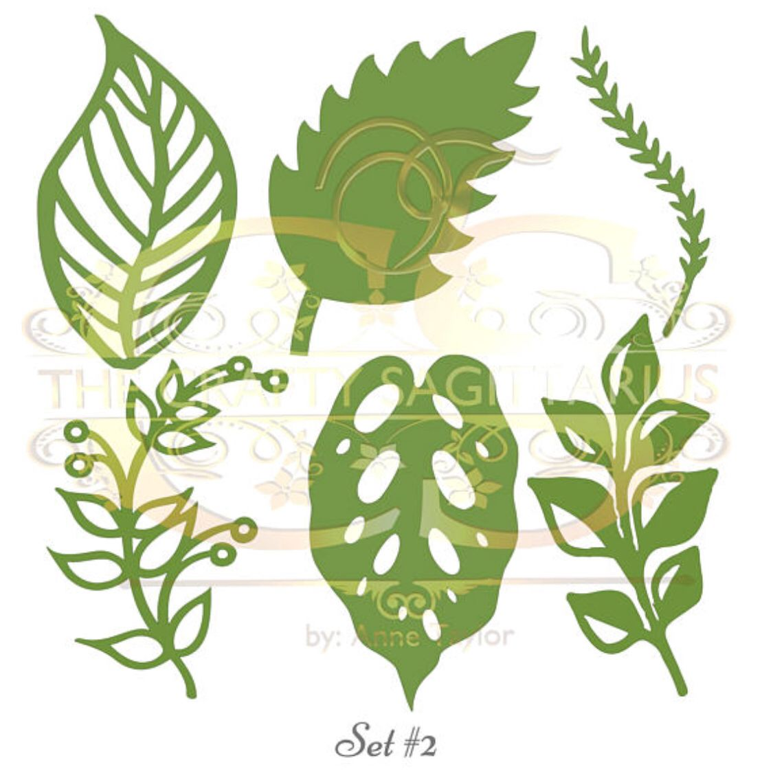Svg Png Dxf Set 2 6 Different Leaves For Paper Flowers Machine Use