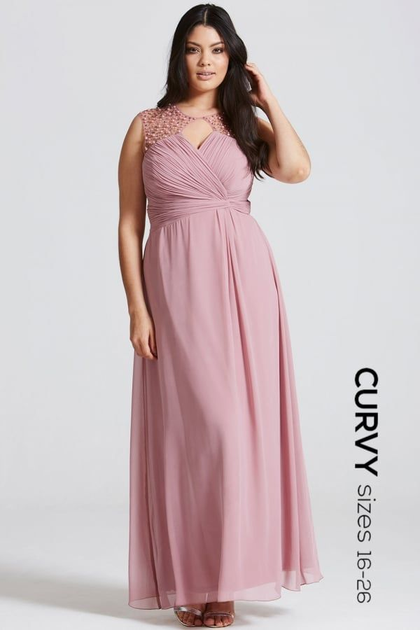 Little Mistress Curvy Dusty Pink Embellished Shoulder and Drape ...