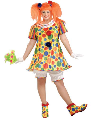Ladies Giggles The Clown Plus Size Fancy Dress Costume Circus Outfit