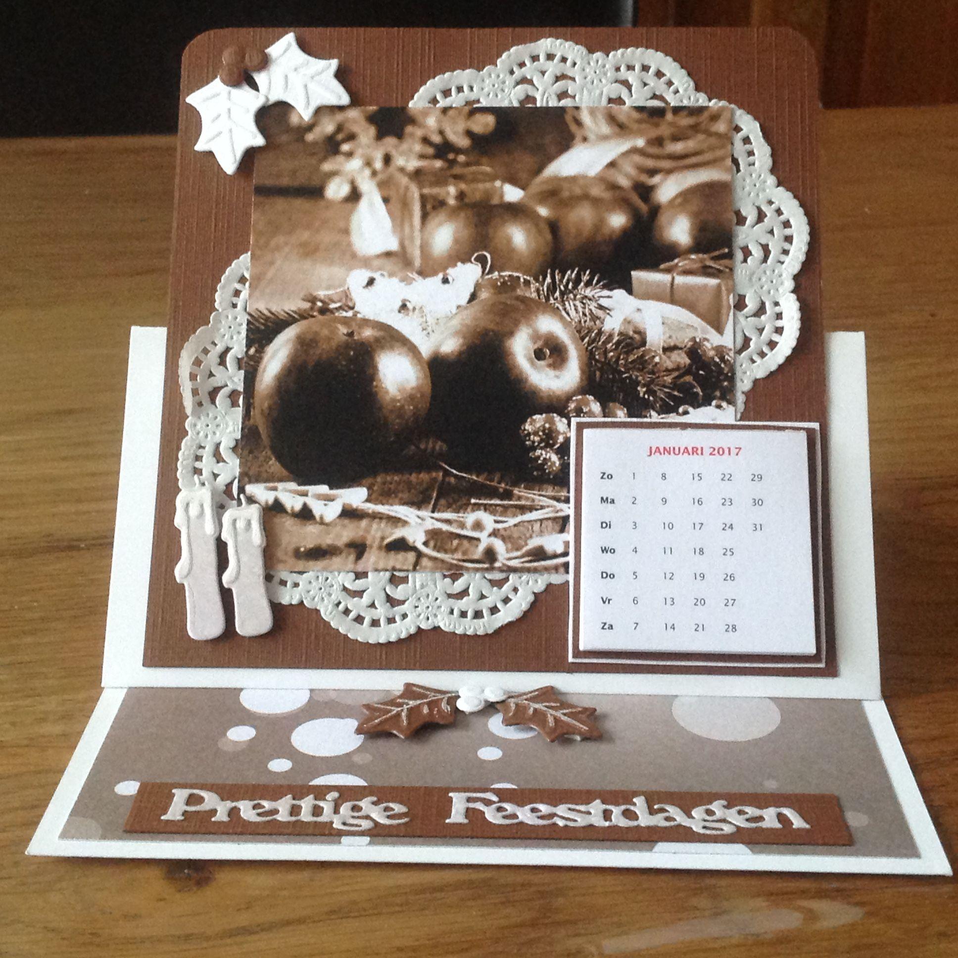 Kerstkaart met kalender 2017 gemaakt door Anne Marie.