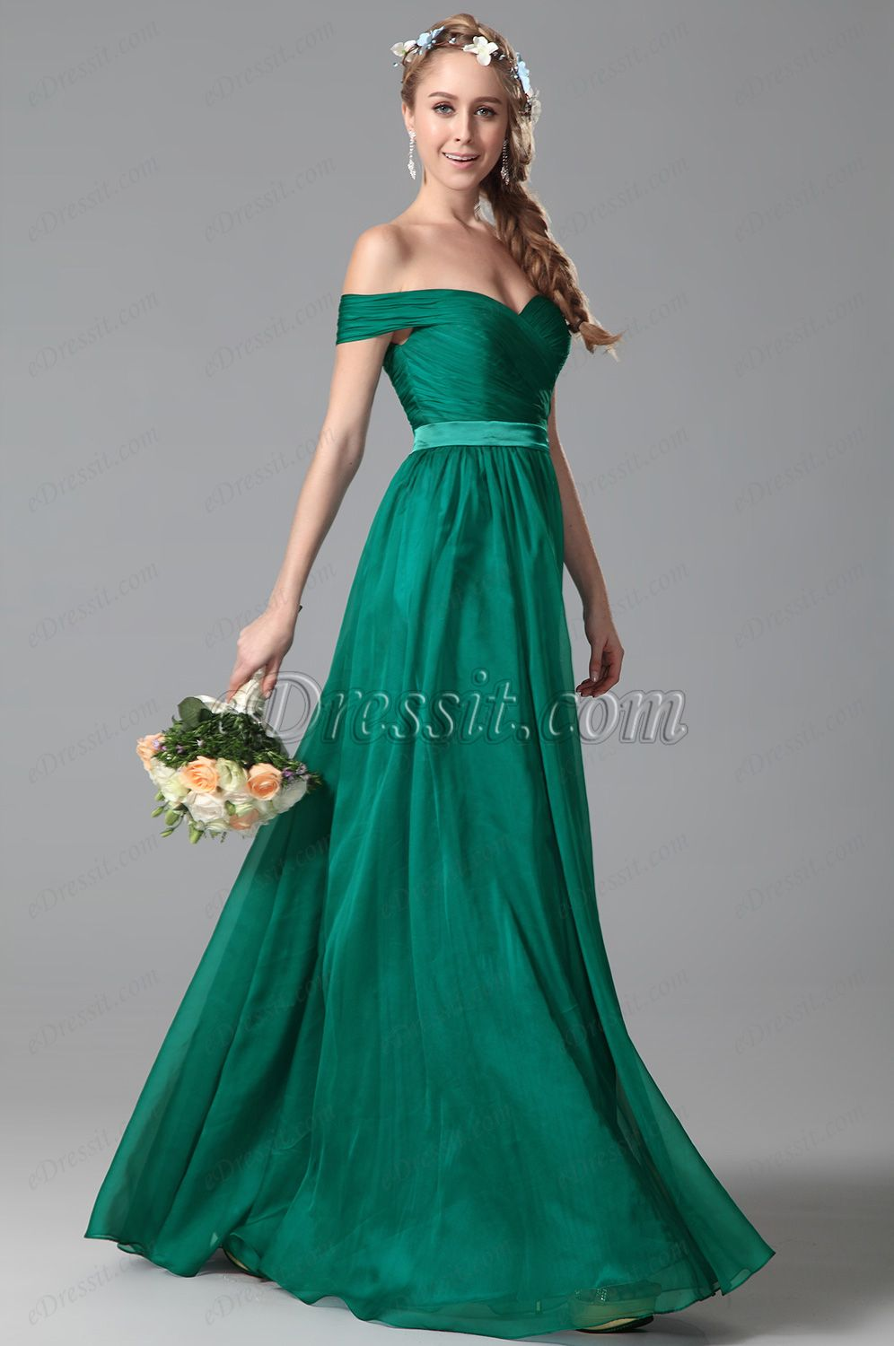 Elegant Off Shoulder Ruched Bodice Bridesmaid Dress Evening Gown ...