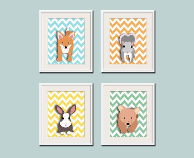 Woodland Nursery Art Print By Wall For Small Fry Chevron Forest Friend Critters Make The Sweetest Your Baby S Room Modern Nurseries