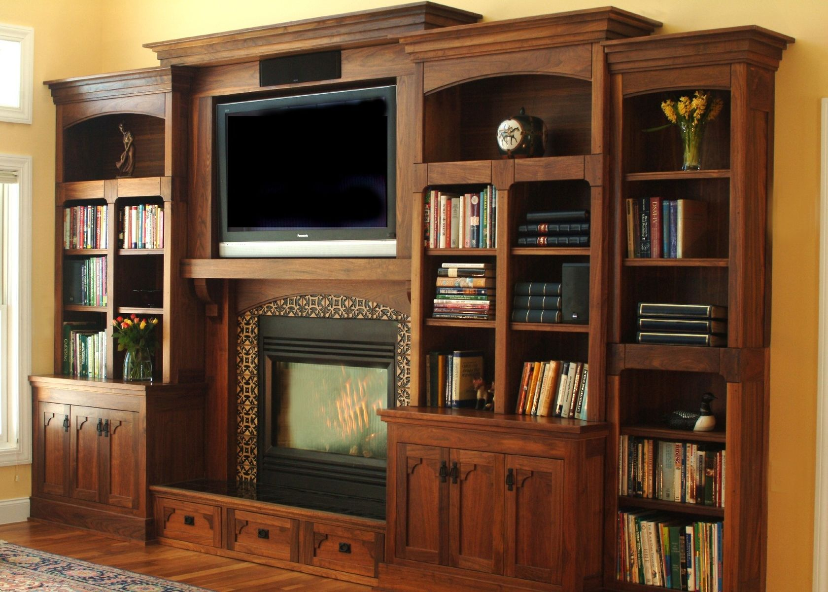 Built in entertainment center with fireplace custom made for Craftsman gas fireplace