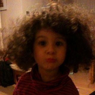 My daughter pulling a face.