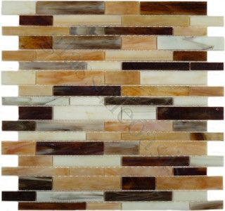 Copper Glow Random Bricks Bronze/Copper Brick Victorian Glossy Glass - tile - by Glass Tile Oasis
