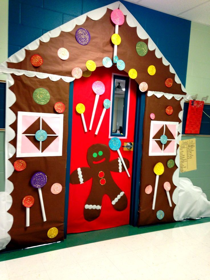 Gingerbread House Meeting Room Use This One For The Shape Of The House Christmas Door Decorating Contest Door Decorating Contest House Door Decorations