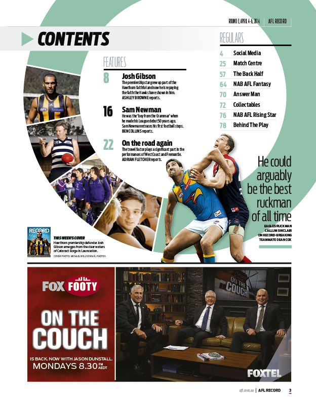 2014 AFL Record Round 3 | Contents
