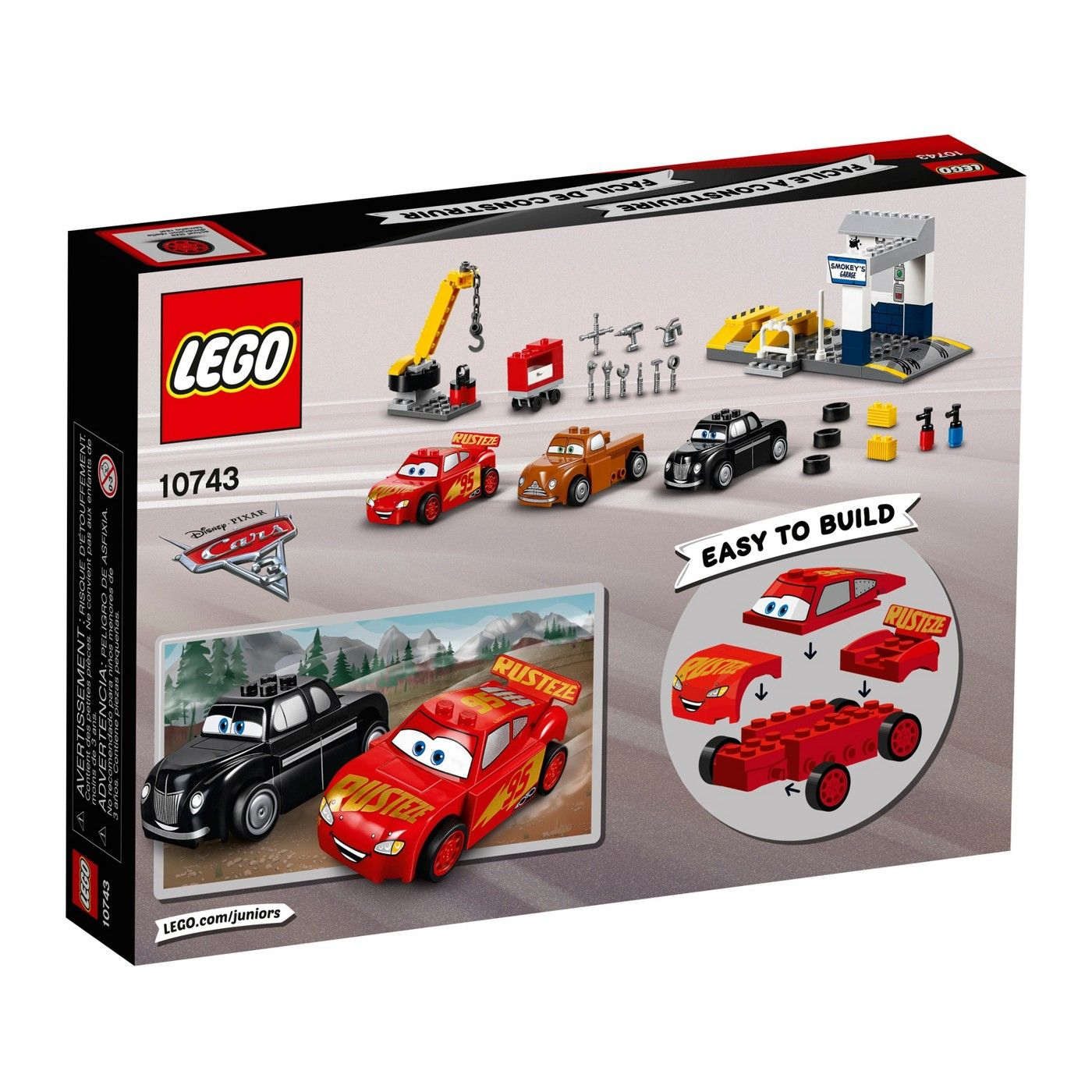 Legoa Juniors Disneya Pixara 20cars 3 Smokey S Garage 10743