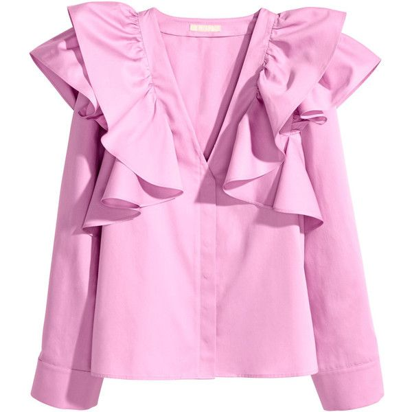 Ruffled blouse 4.499 RSD ❤ liked on Polyvore featuring tops, blouses, ruffle v neck blouse, v neck blouse, frilly blouse, button front blouse and pink ruffle blouse