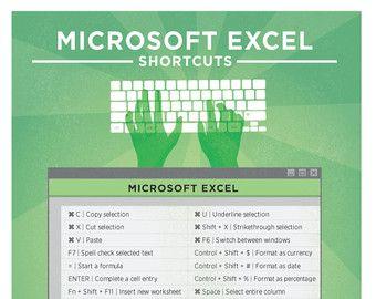 Microsoft Excel Keyboard Shortcut Printable Poster 8 5 X11 Microsoft Excel Microsoft Word Und Microsoft Office