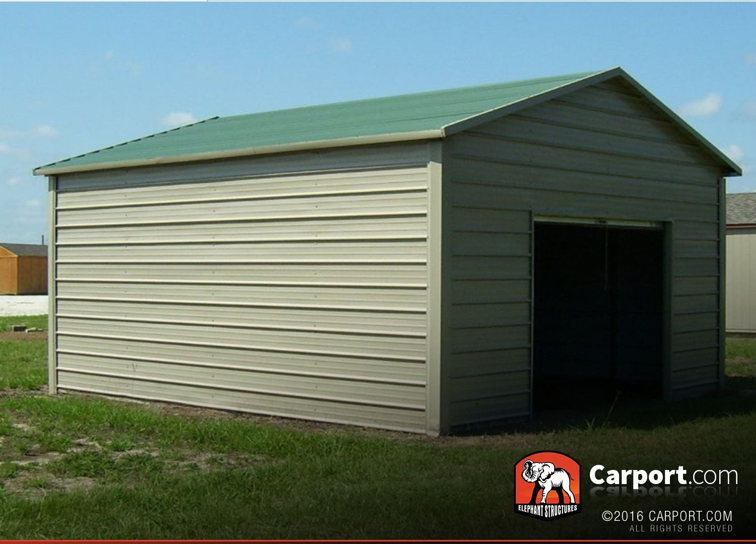 Metal Garage 12 X 21 With Boxed Eave Roof Metal Garages Metal Carport Kits Roofing
