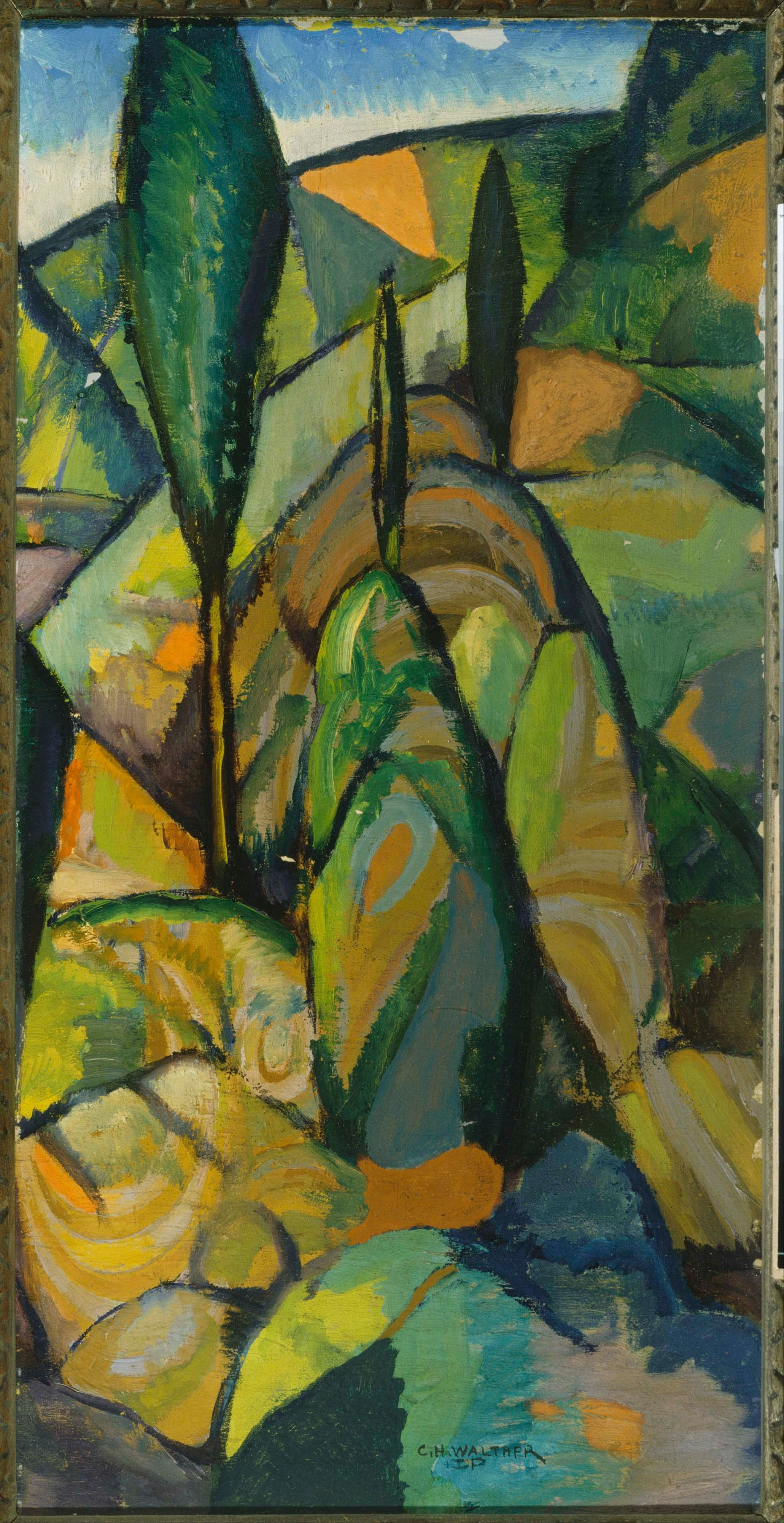 From Phillips Collection, Charles H. Walther, Abstract Landscape, Oil on  canvas board, 20  10 in
