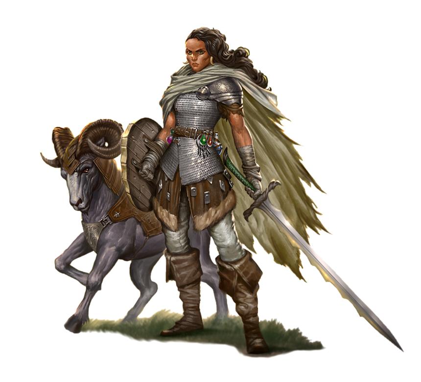Female Human Ranger or Hunter with Ram Companion - Pathfinder PFRPG