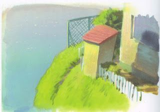 Storage shed/generator housing detail of Sosuke's house. The style evokes both Wyeth (moody shadows) and Seuss (bright colors and cartoon-like proportions). Ponyo (2008) Background Designs http://livlily.blogspot.hu/2012/04/artworks-of-hayao-miyazaki-films.html