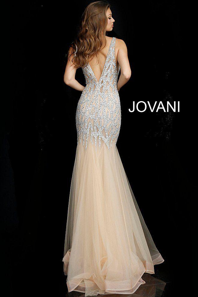 eefa0920ae5f jovani Nude Silver Crystal Embellished Sleeveless Formal Dress 59717