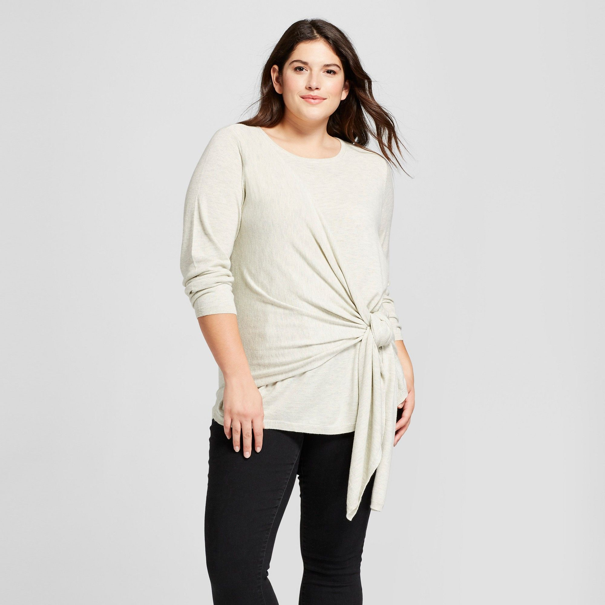 ba9140b81a Women s Plus Size Tie Front Sweater - A New Day Heather Gray X ...