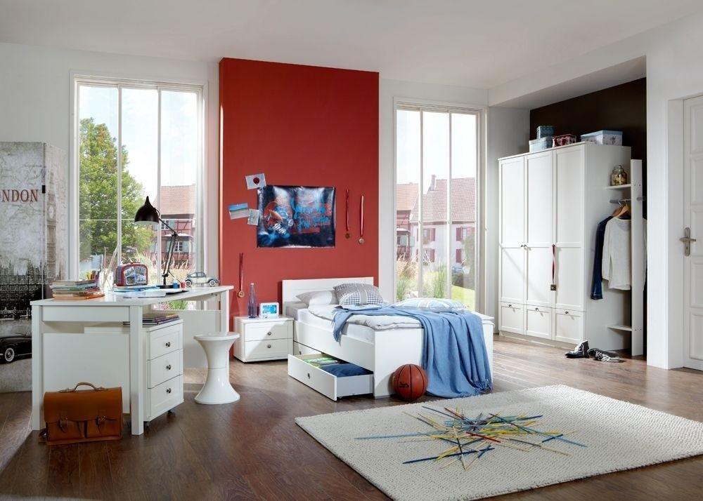 Jugendzimmer Mit Bett 90 X 200 Cm Alpinweiss Woody 132-00817 - jugendzimmer schwarz wei