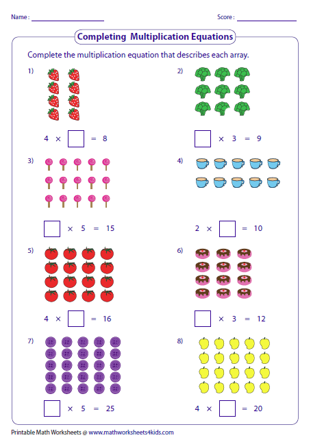 Multiplication Models Worksheets Array Worksheets Math Worksheets Math Multiplication Worksheets