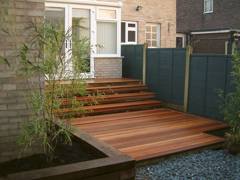 hardwood decking and raised sleeper plant bed home ideas