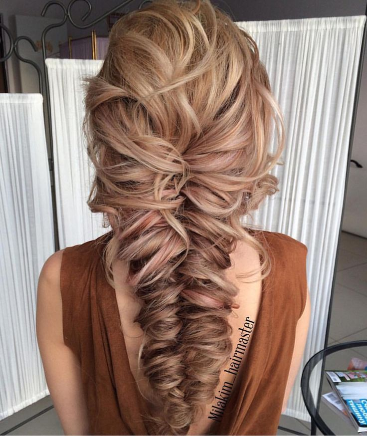 Fishtail Braid Wedding Hairstyles: Peinados Pelo Ondulado, Peinados Con