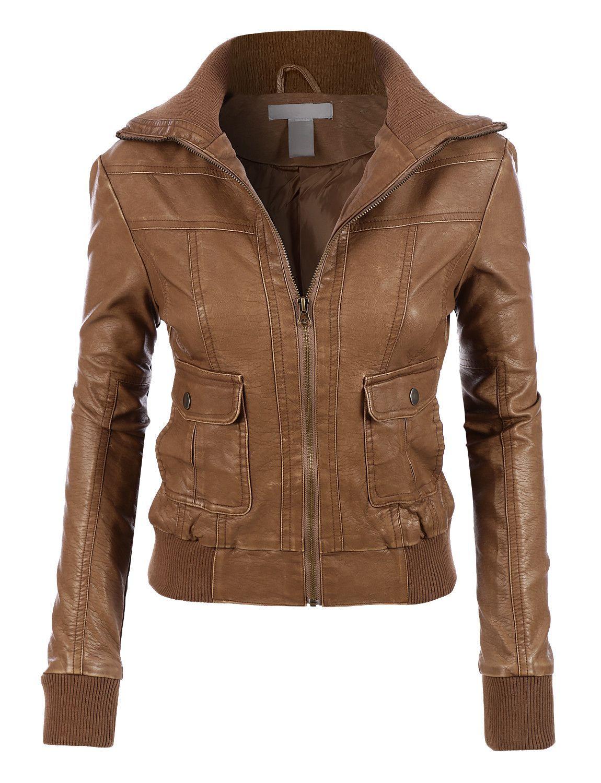 LE3NO Womens Faux Leather Zip Up Biker Moto Jacket Fall