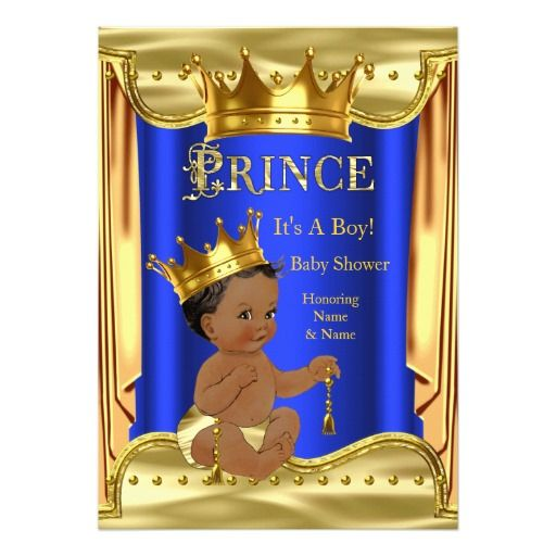 royal blue prince baby shower gold ethnic card | prince baby, Baby shower invitations