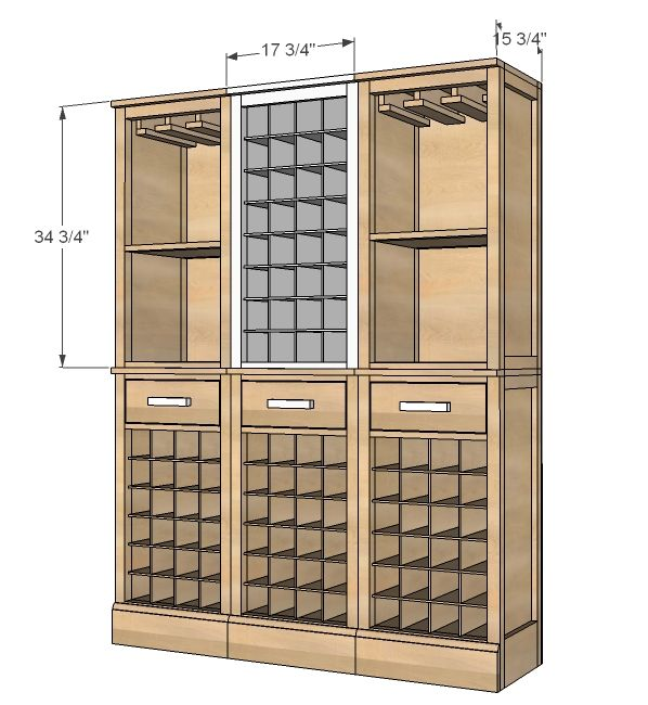 Built In Storage Cabinet Plans: Build A Modular Bar Wine Grid Hutch