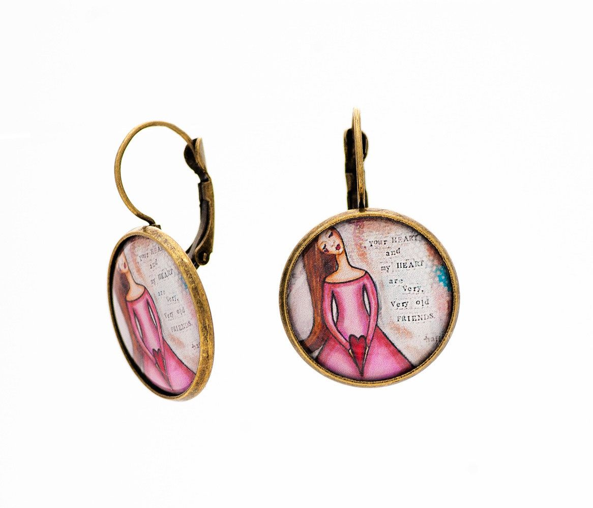 Soul Sister Gift Best Friend Earrings Inspirational Old Friends Whimsical Unique