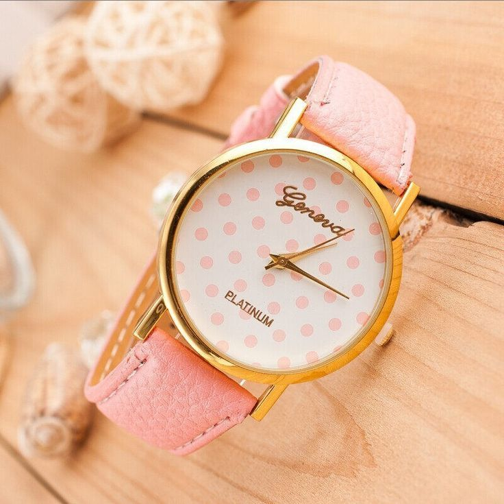 Dots face teenage trendy PU pink leather band girl watch   fashion ...