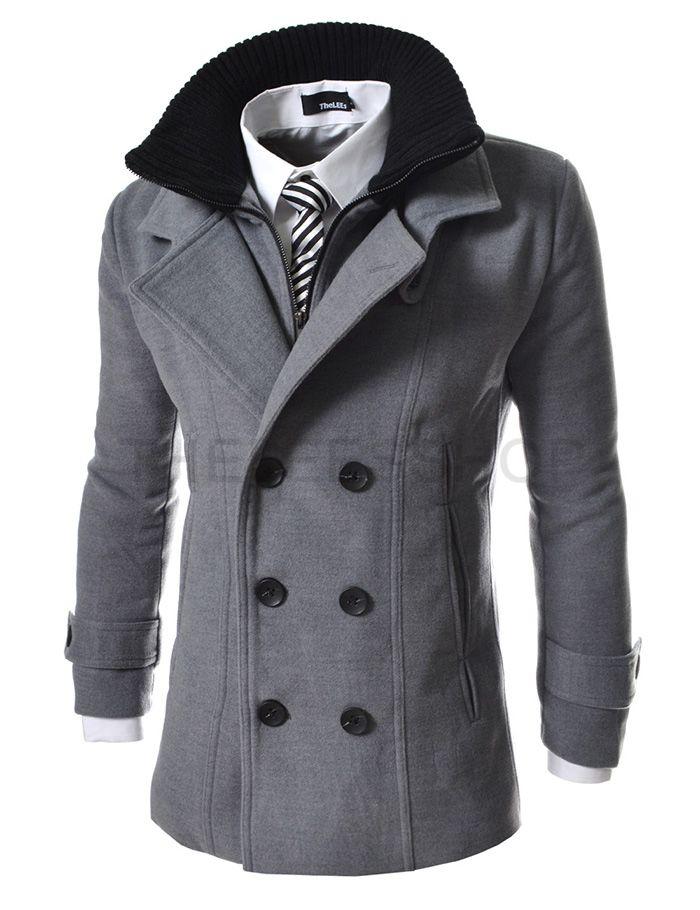 92ab336f02f27 Abrigo de paño gris con cuello doble