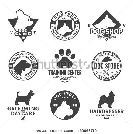 Set Of Vector Dog Logo And Icons For Dog Club Or Shop Grooming