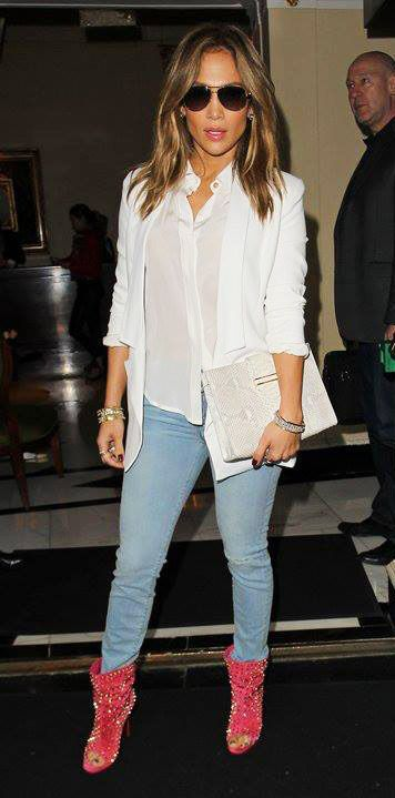 Jennifer Lopez in white shirt   blazer with blue jeans pants   studded peep  toe pink  boots  fashion de2d09975320