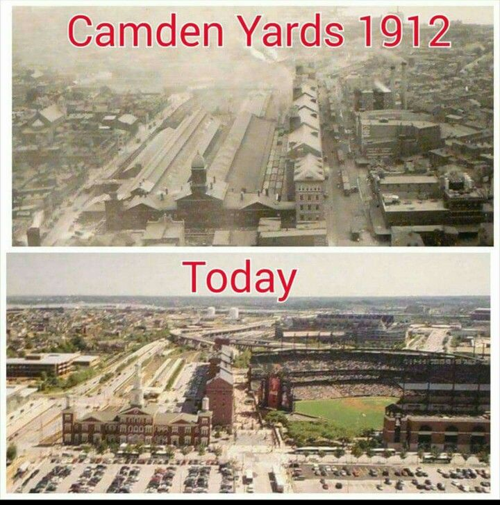 Camden Yards 1912 and Today 2015