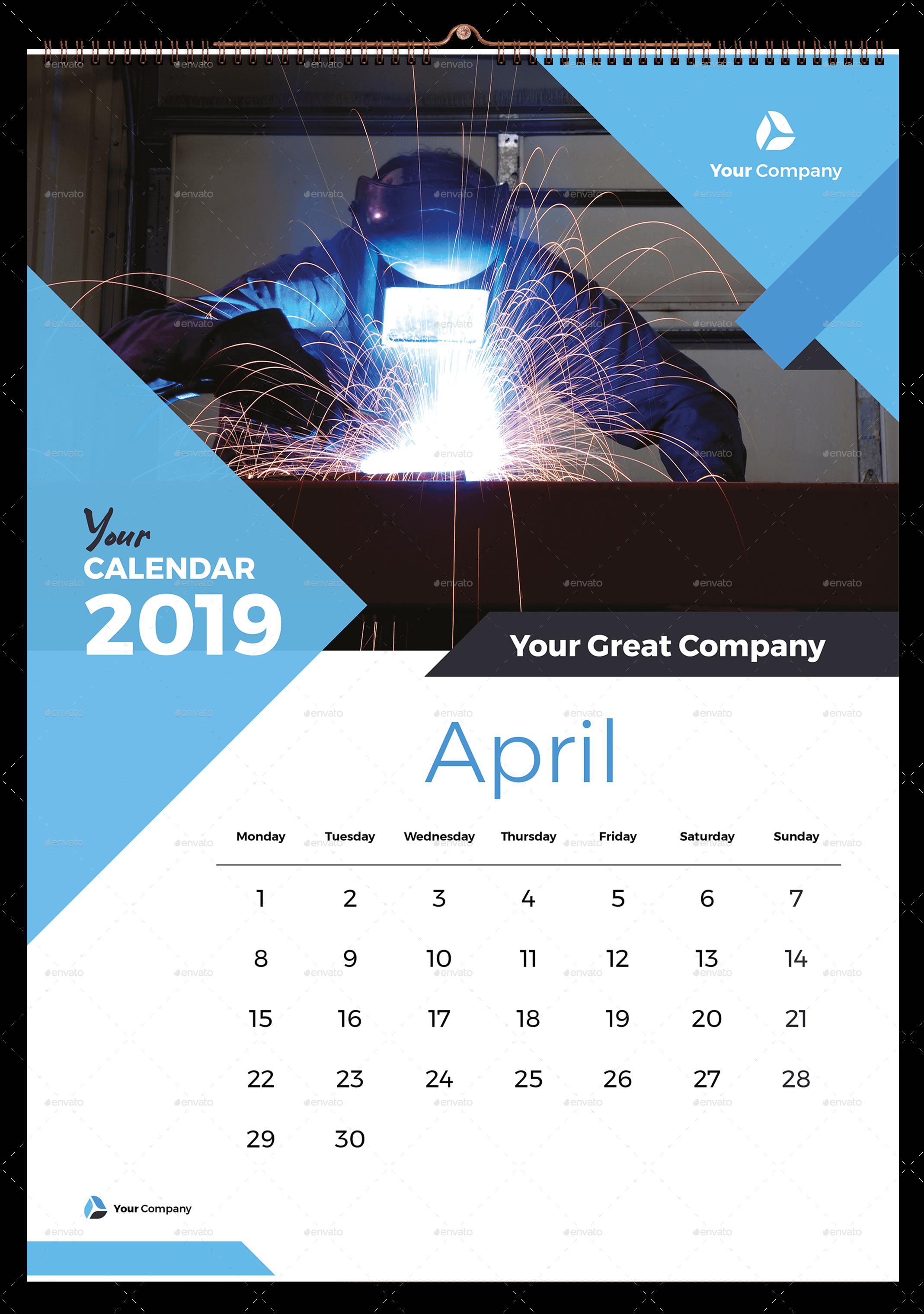 Wall Calendar 2019 #Wall, #Calendar | Wall calendar design, Wall