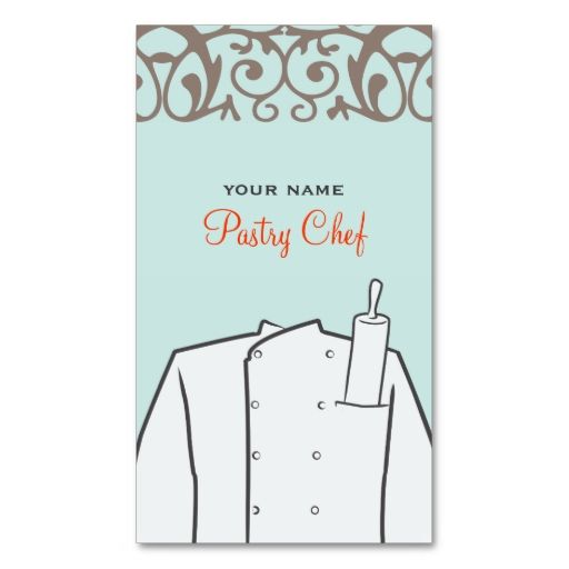 Pastry Bakery Chef Business Card. This great business card design is available for customization. All text style, colors, sizes can be modified to fit your needs. Just click the image to learn more!