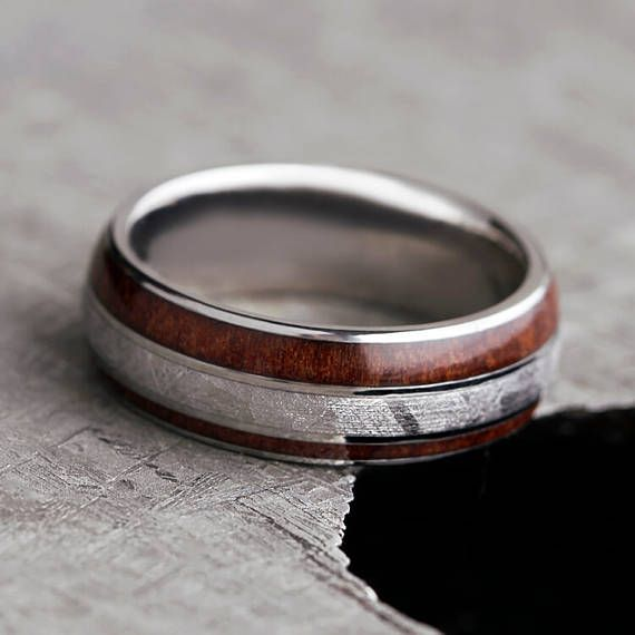 Redwood Wedding Band With Meteorite Titanium Ring Handmade Wood