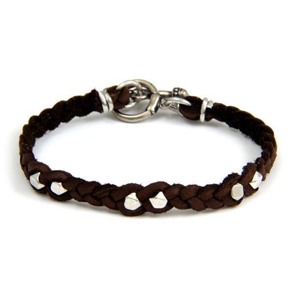 Ettika :: Mr.Ettika :: Mens Bracelets :: Silver Faceted Bead Men's Brown Braided Bracelet