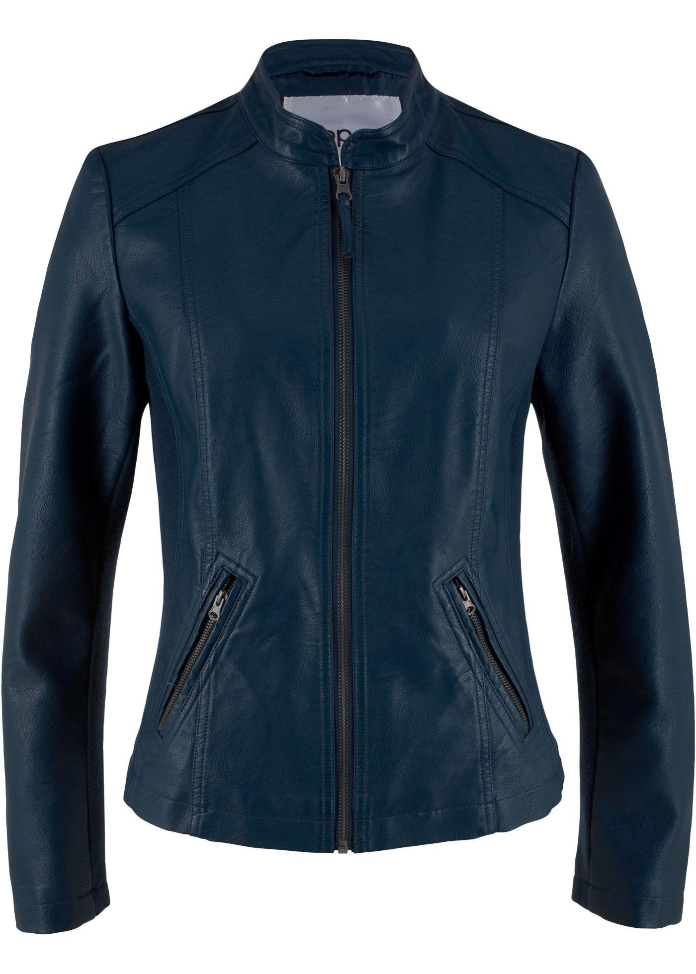 Taillierte Jacke aus Lederimitat mit Stehkragen in 2019