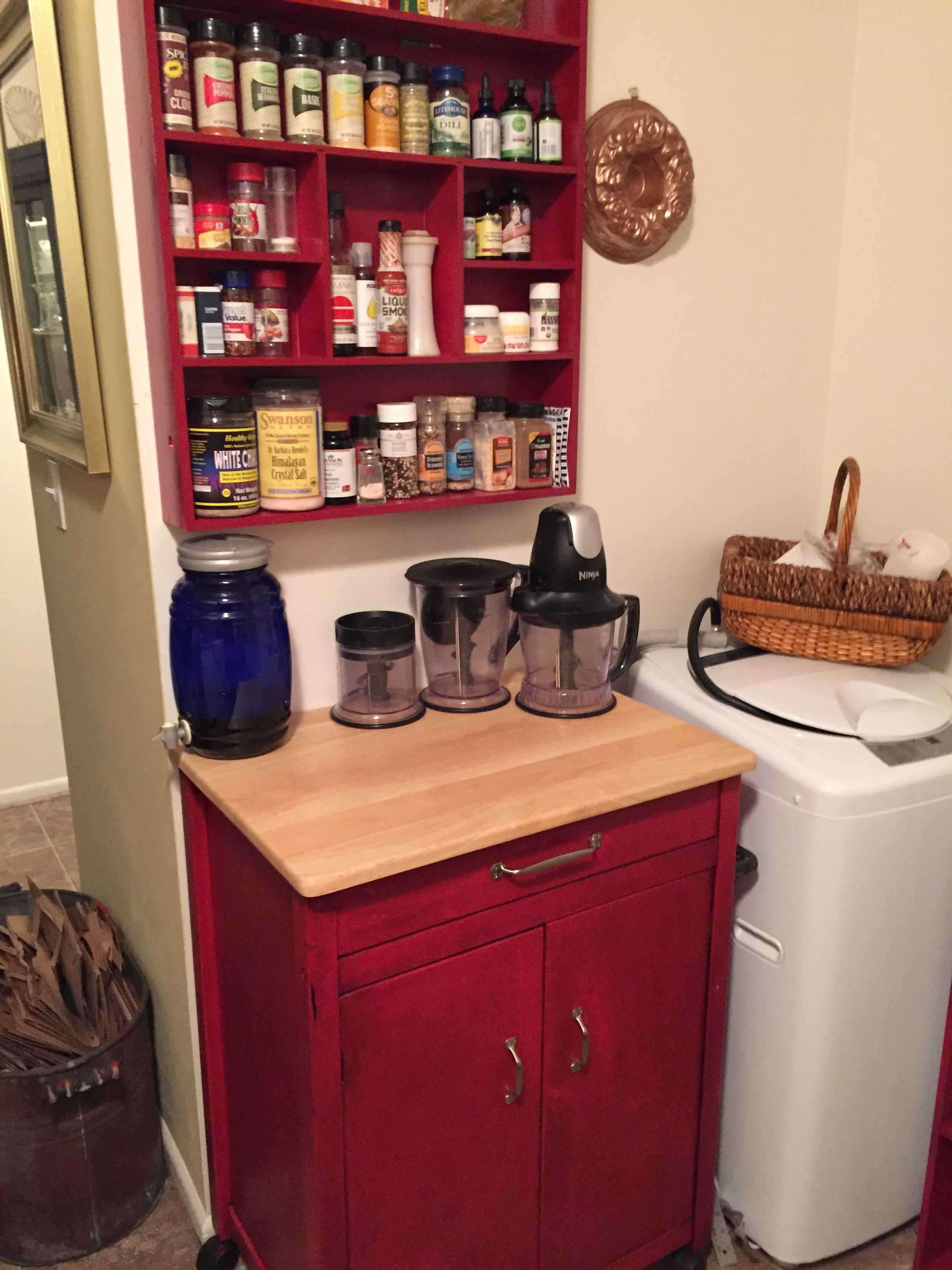 painted cart and spice rack to match