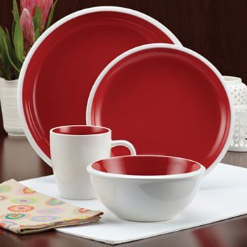 Rachael Ray Red Rise Dinner Plate - Set of Four & Rachael Ray Rise 16-pc. Dinnerware Set - red | Fourth of July table ...