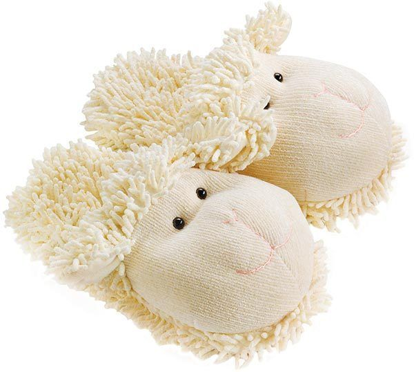 70ec7f496fdb3 Aroma Home Fuzzy Friends Lamb Slippers Fit Up To Size 7  Fun For Feet