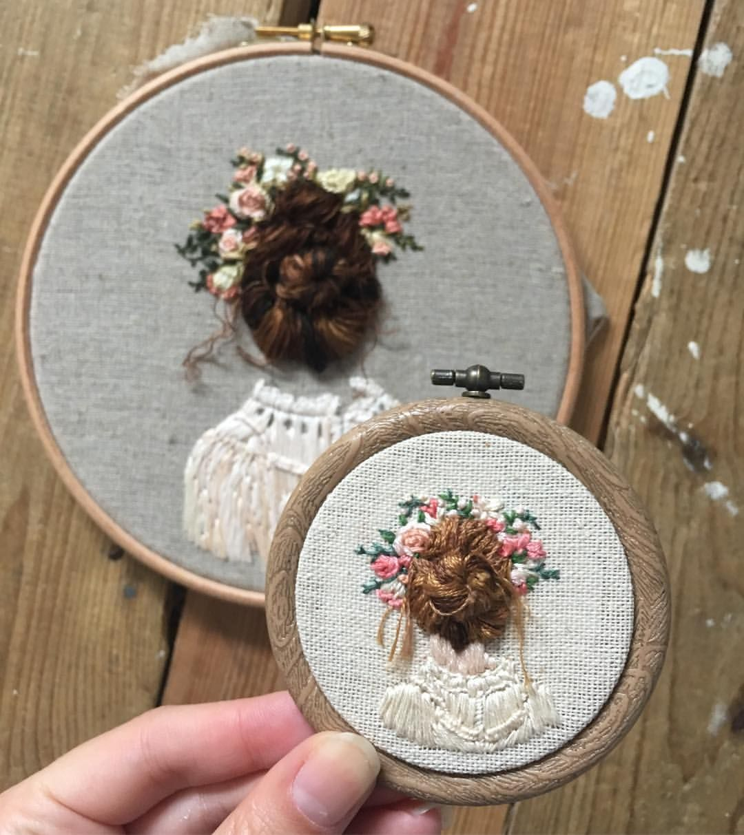 Embroidered Hair Bun Girls Hand Embroidered 3d Quirky Stitches