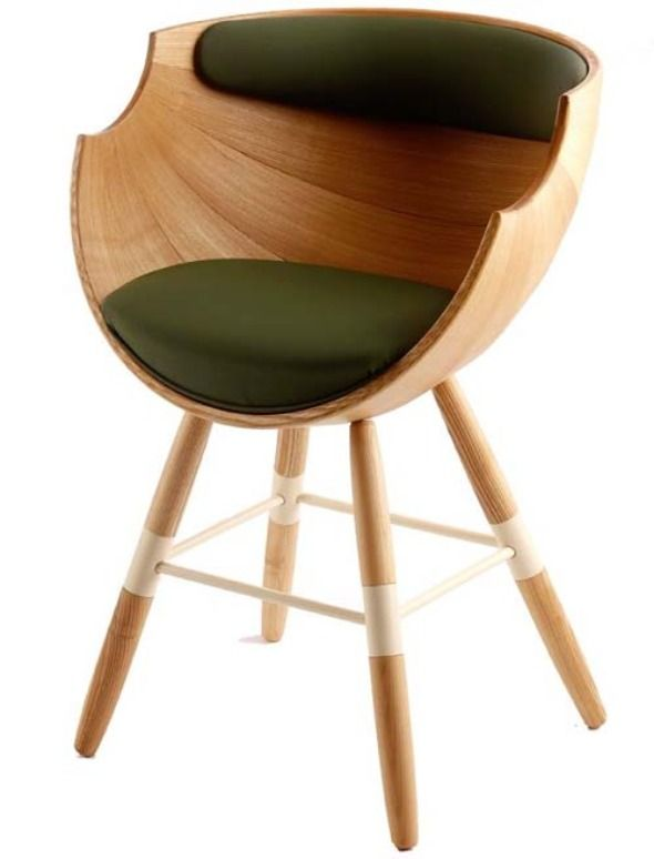 Ccute And Wonderful Unique Wooden Chair Design With Green Seat And Back Pad